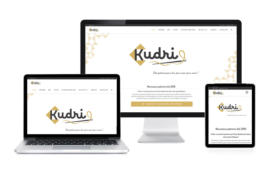 Site e-commerce avec Wordpress et Woocommerce pour Kudri, patrons de couture, réalisé par Jane Web