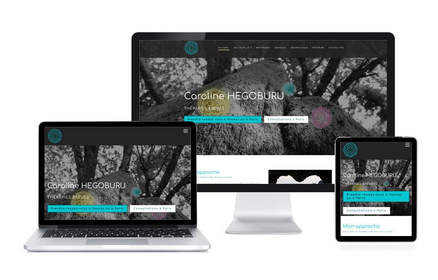 Création d'un site vitrine Wordpress pour Caroline Hegoburu, thérapeute à Vannes et Paris, par Jane Web
