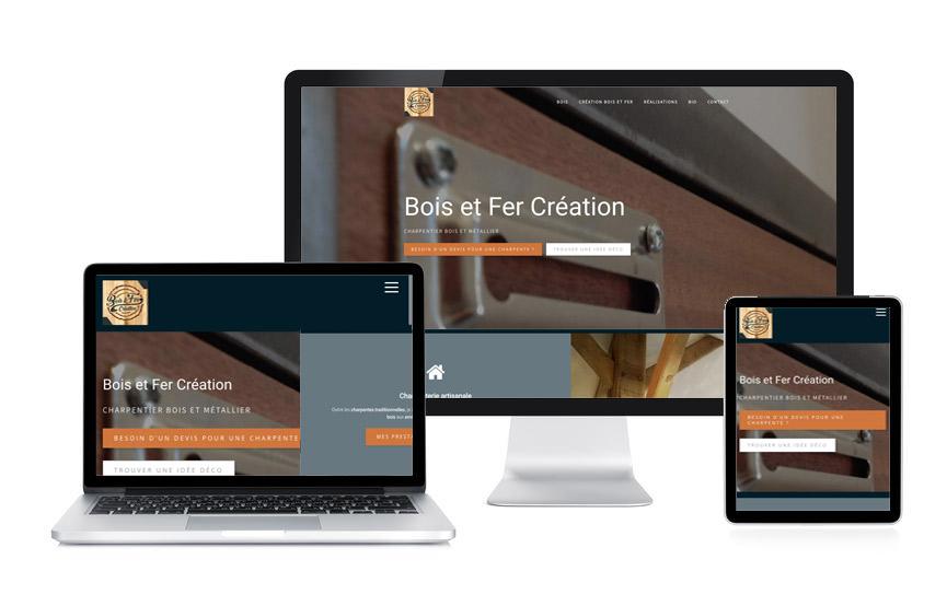 Site Wordpress Bois et Fer Création, charpenterie, metallerie, réalisé par Jane Web à Vannes.