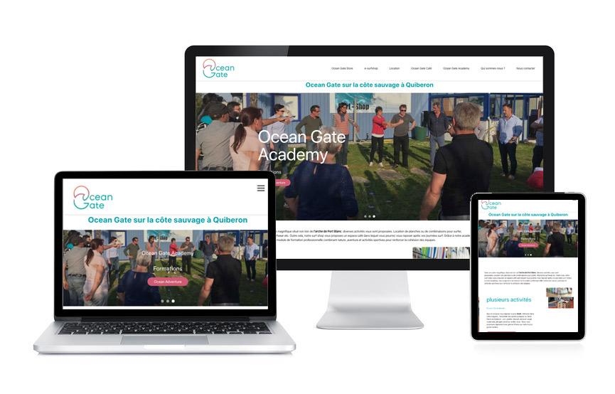 Jane Web a réalisé le site vitrine et son contenu pour Ocean Gate, surf shop et coaching à St Pierre Quiberon.