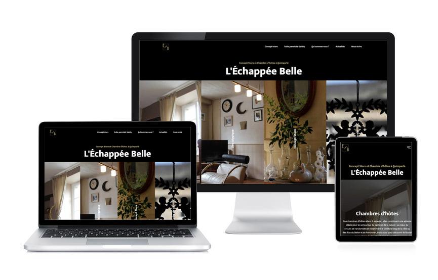 Site vitrine avec un module e-commerce, boutique en ligne, pour L'Échappée Belle, concept-store et chambre d'hôte à Quimperlé, Site réalisé par Jane Web à Vannes.