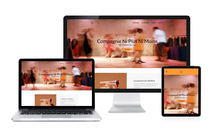 Réalisation d'un site vitrine sous Wordpress pour la Compagnie Ni Plus Ni Moins, ateliers théâtre à Vannes, par Jane Web.