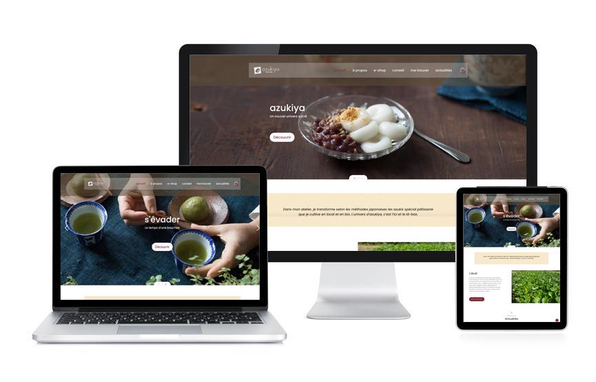 Réalisation d'un site vitrine sous Wordpress avec un module e-commerce pour Azukiya, patisserie japonaise à Colmar, par Jane Web.